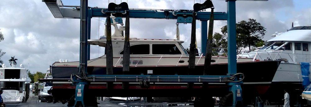 A little Yacht in the ro-ro ready to be shipped overseas