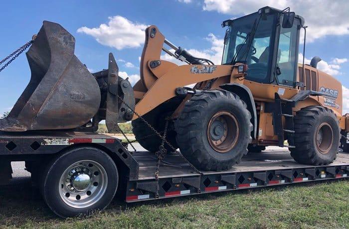 Bulldozer transportation, bulldozer hauling