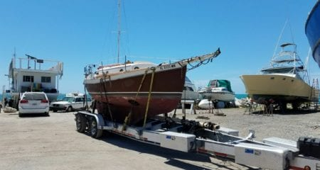 shrink wrapping a boat for transport