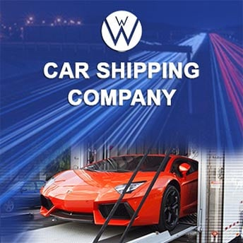 We Will Transport It logo on top of a Ferrari getting out of a enclosed car transport carrier